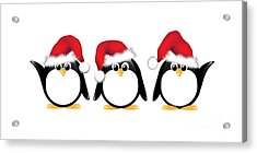 Christmas Penguins Isolated Acrylic Print by Jane Rix