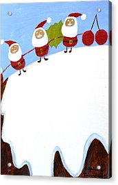 Christmas Pudding And Santas Acrylic Print