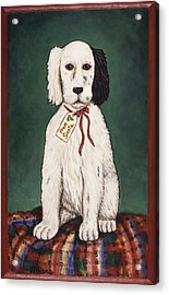 Christmas Puppy Acrylic Print by Linda Mears