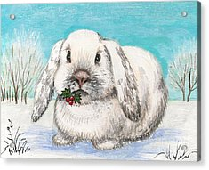 Christmas Rabbit Acrylic Print by Margaryta Yermolayeva