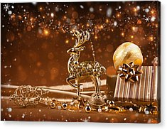 Christmas Reindeer In Gold Acrylic Print