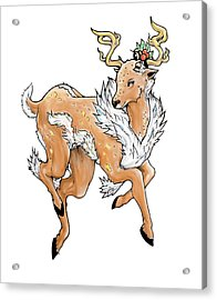 Christmas Reindeer Acrylic Print by Miguel Karlo Dominado