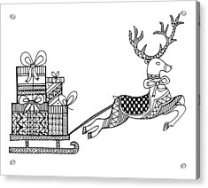 Christmas Reindeer Acrylic Print by Neeti Goswami