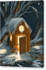 Christmas Robin Acrylic Print by Veronica Minozzi