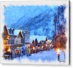 Acrylic Print featuring the painting Christmas Scenes 2 by Wayne Pascall