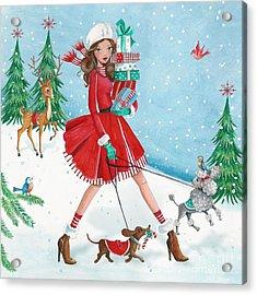 Christmas Shopping Acrylic Print by Caroline Bonne-Muller
