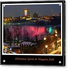 Christmas Spirit At Niagara Falls - Holiday Card Acrylic Print by Lingfai Leung