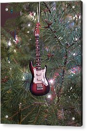 Christmas Stratocaster Acrylic Print by Richard Reeve