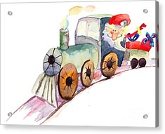 Christmas Train With Santa Claus Acrylic Print