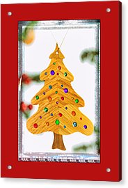Christmas Tree Art Ornament In Red  Acrylic Print
