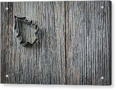 Christmas Tree Cookie Cutter On Rustic Wood Background Acrylic Print