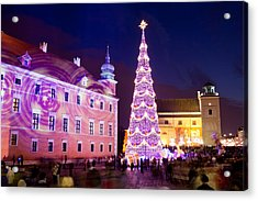 Christmas Tree In Warsaw Old Town Acrylic Print by Artur Bogacki