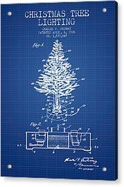 Christmas Tree Lighting Patent From 1926 - Blueprint Acrylic Print