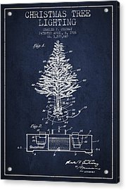 Christmas Tree Lighting Patent From 1926 - Navy Blue Acrylic Print