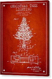 Christmas Tree Lighting Patent From 1926 - Red Acrylic Print