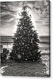 Acrylic Print featuring the painting Christmas Tree On The Beach by Gregory Dyer