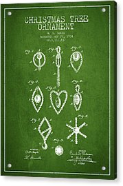 Christmas Tree Ornament Patent From 1914 - Green Acrylic Print