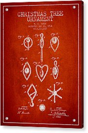Christmas Tree Ornament Patent From 1914 - Red Acrylic Print