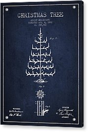 Christmas Tree Patent From 1882 - Navy Blue Acrylic Print