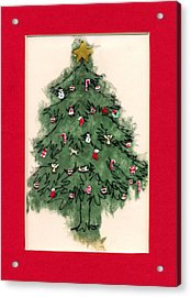 Christmas Tree With Red Mat Acrylic Print