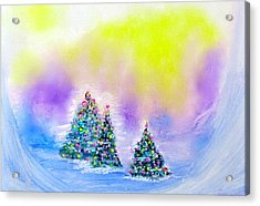 Christmas Trees In The  Valley - Alcohol Inks In Pastel Acrylic Print