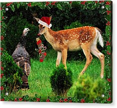 Christmas Wild Turkey And Fawn Acrylic Print by Angel Cher