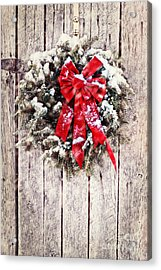 Christmas Wreath On Barn Door Acrylic Print by Stephanie Frey