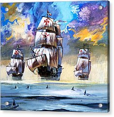 Christopher Columbus's Fleet  Acrylic Print by English School