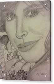 Acrylic Print featuring the drawing Christy Turlington by Christy Saunders Church