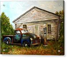 Acrylic Print featuring the painting Chromatic Chevy by Sandra Nardone
