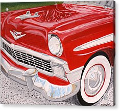 Chrome King 1956 Bel Air Acrylic Print by Vicki Maheu