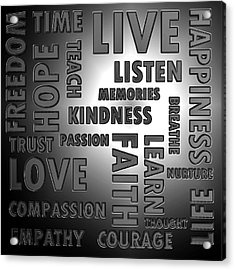 Chrome Words Acrylic Print by Sharon Lisa Clarke