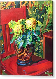 Acrylic Print featuring the painting Chrysanthemums On Red Chair by Clyde Semler