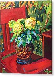 Chrysanthemums On Red Chair Acrylic Print