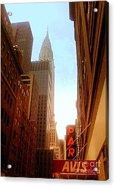 Chrysler Building Rises Above New York City Canyons Acrylic Print by Miriam Danar