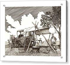 Chuckwagon Cattle Drive Breakfast Acrylic Print by Jack Pumphrey