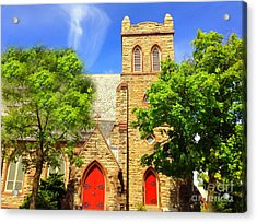 Acrylic Print featuring the photograph Church And Red Doors by Becky Lupe