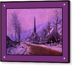 Church At Jeufosse Snowy Weather Enhanced Triple Border Acrylic Print by Claude Monet - L Brown