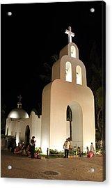 Church At Night In Playa Del Carmen Acrylic Print by Roupen  Baker