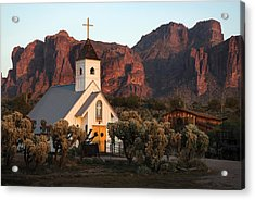 Church At The Superstition Mountains Arizona Acrylic Print