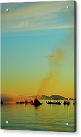 Church Boats On The Lake Siljan Acrylic Print by Anders Ludvigson
