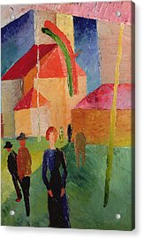 Church Decorated With Flags Acrylic Print by August Macke
