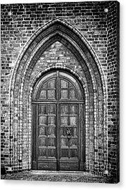 Church Door Monochromatic Acrylic Print by Antony McAulay