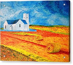 Church Harvest Ballintoy Acrylic Print by Paul Morgan