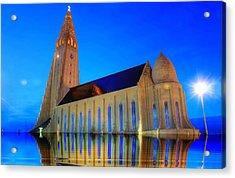Church In A Water Acrylic Print