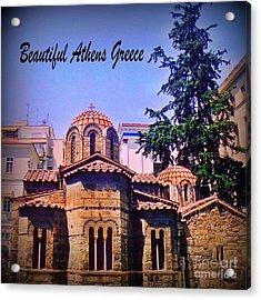 Church In Beautiful Athens Acrylic Print by John Malone