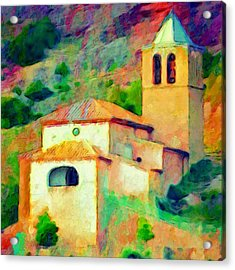 Church In Riglos Spain - Square Acrylic Print