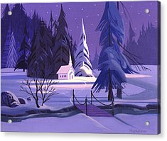 Acrylic Print featuring the painting Church In Snow by Michael Humphries