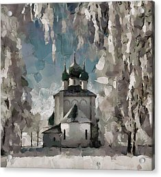 Church In Snow Nowhere Acrylic Print
