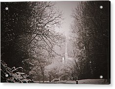 Church In The Snow  Acrylic Print by Debra Crank